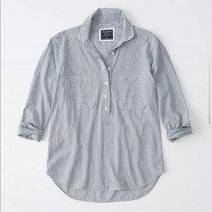 Abercrombie & Fitch blue stripe popover shirt NWT